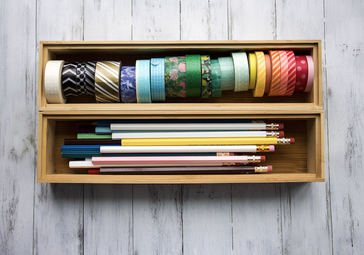 drawer organizers for holding washi tape and pencils