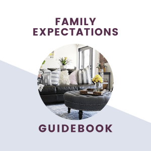family expectations guidebook text with picture of living room