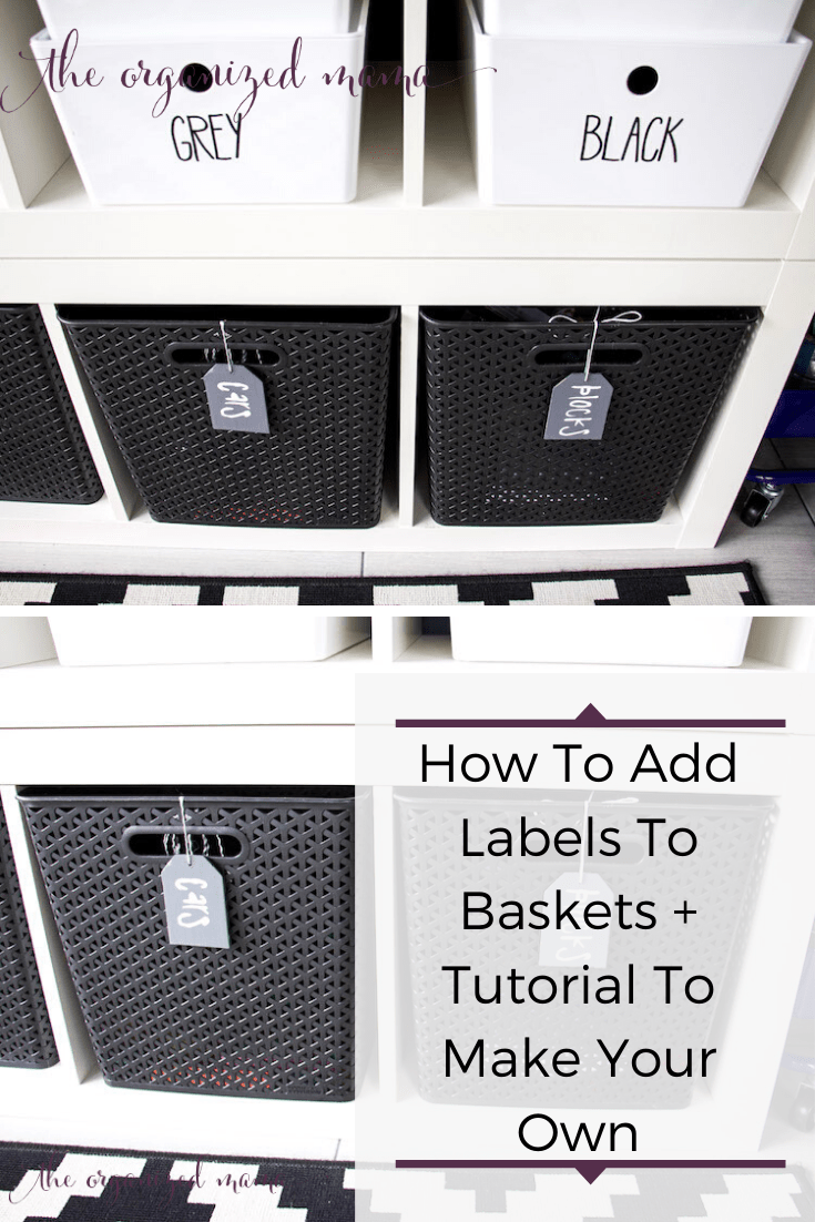 how to make labels for baskets plus tutorial pinterest graphic