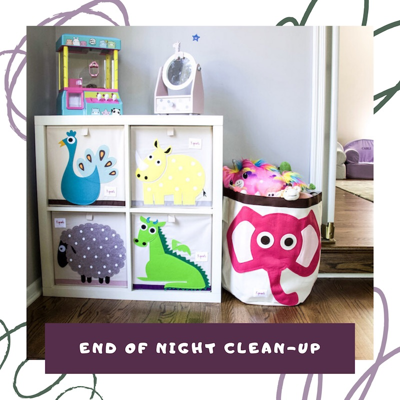 end of night clean up routine with the organized kids link to video