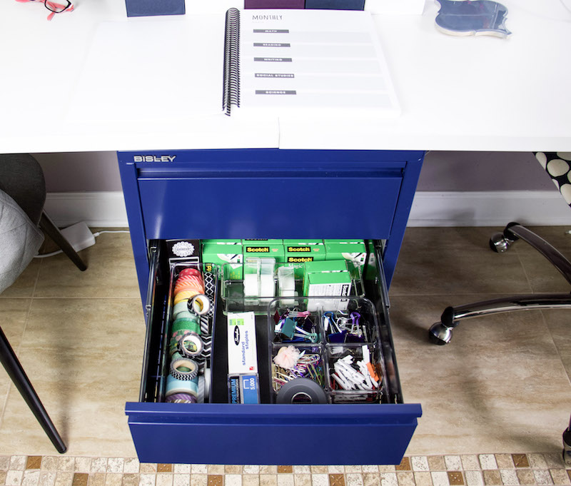 office supply drawer in desk
