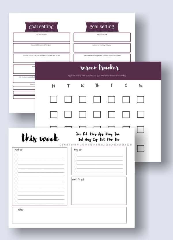 mama productivity bundle with screen tracker, goal setting, and planner