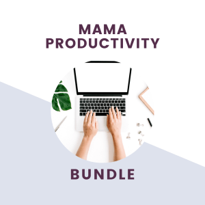 mama productivity bundle text over computer with arms typing