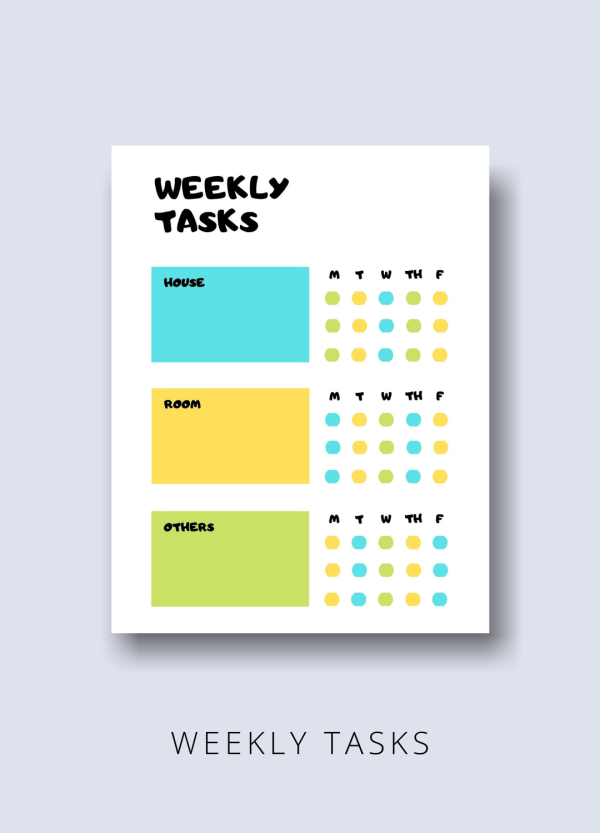 weekly tasks kid productivity printable