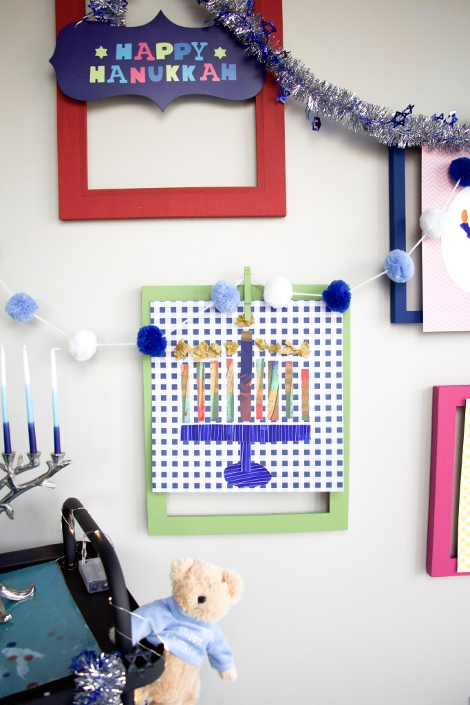 hanukkah wall art using paint and scissors