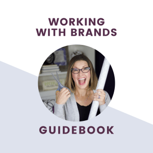 working with brands guidebook text over picture of influencer with product