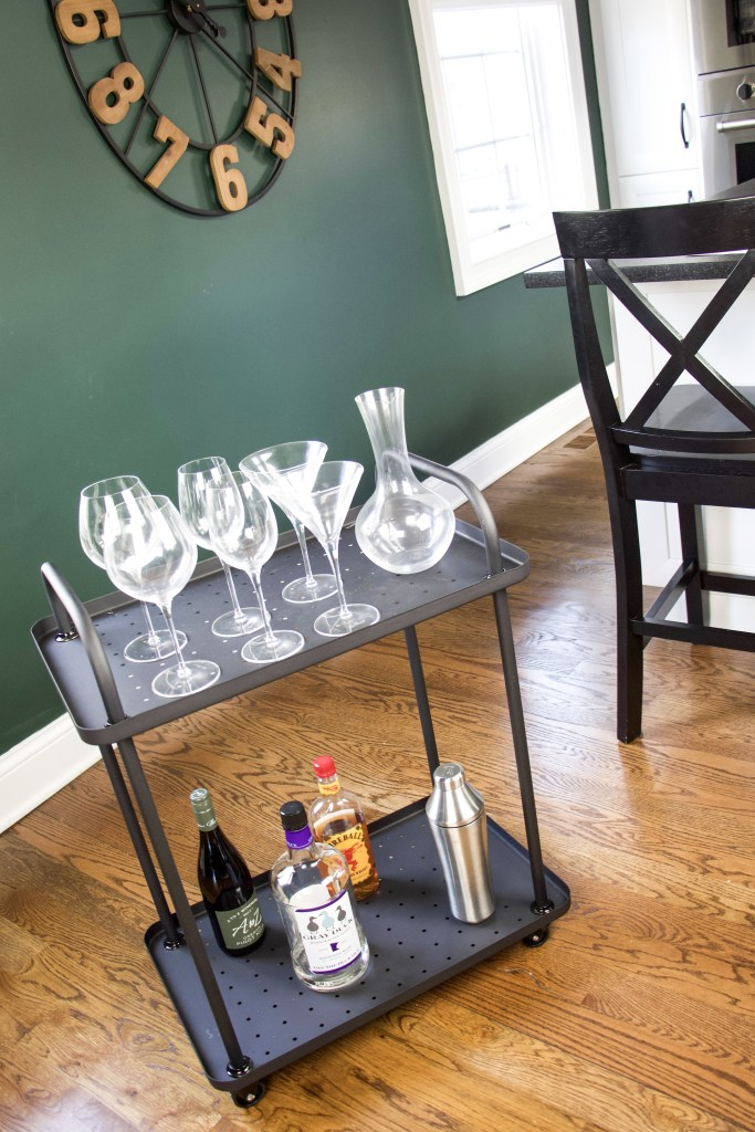 bar cart decor used as a bar cart
