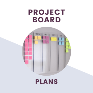 text saying project board plans over picture of acrylic project board with colorful post-it notes