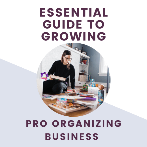 essential guide to growing organizing business with picture of organizer organizing toys in playroom