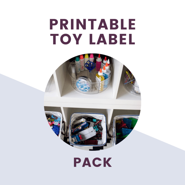 text overlay of printable toy label pack with bins for toys picture