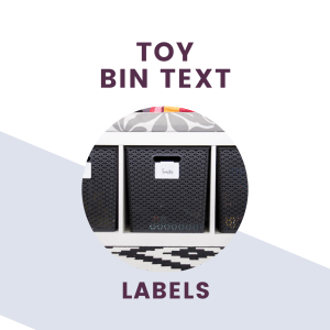 toy bin text labels + graphic