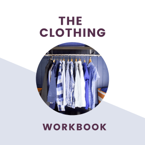 the clothing workbook text with closet picture of clothing hanging