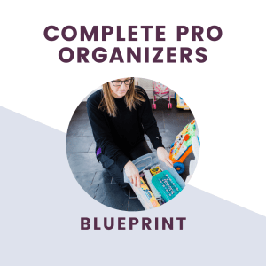 the complete professional organizers blueprint text overlay with picture of organizer putting away toys
