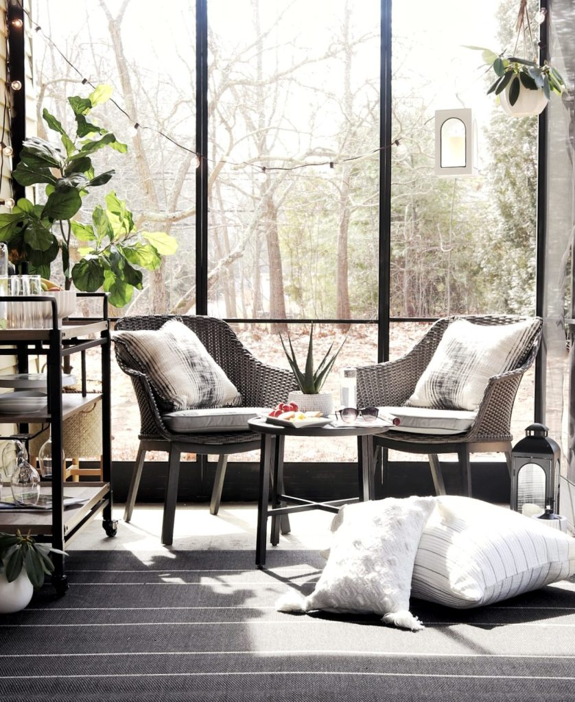patio with windows and seating