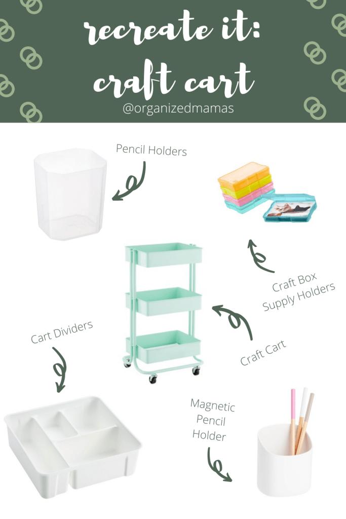 recreate it with craft cart supplies including cart and organizers