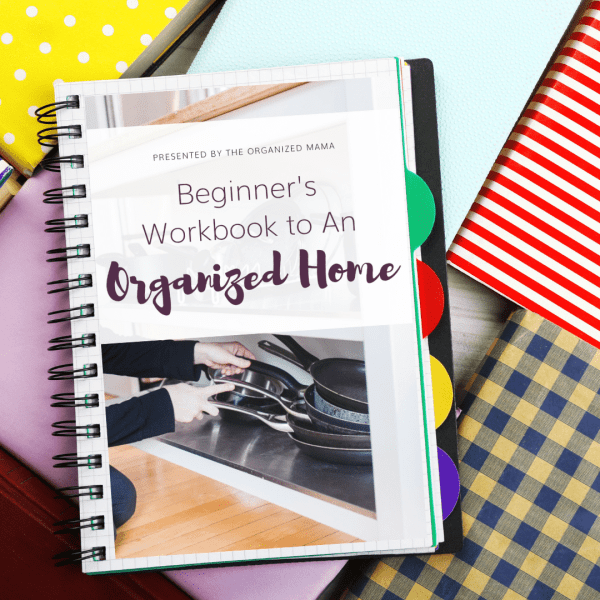binder with beginner's workbook to an organized home on the inside