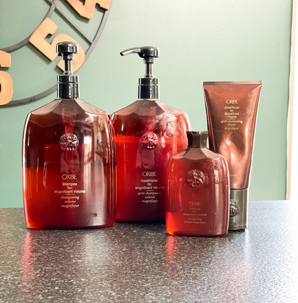 large and small shampoo and condition bottles
