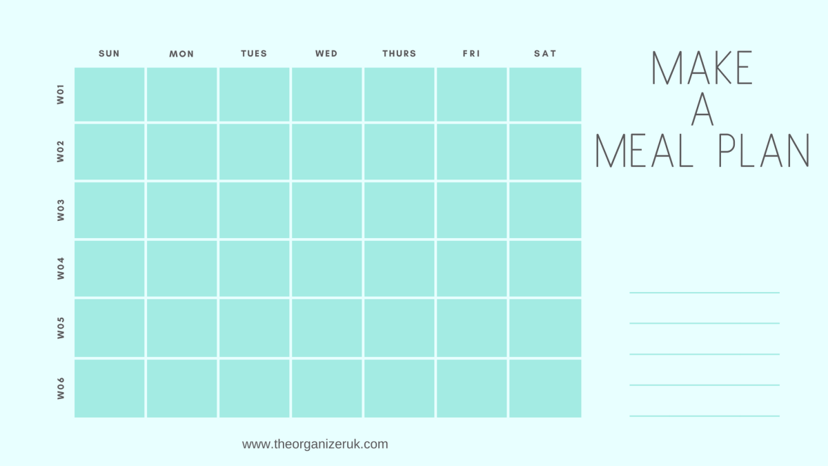 How To Organise Your Meals :  Monthly Menu Calendar Free!