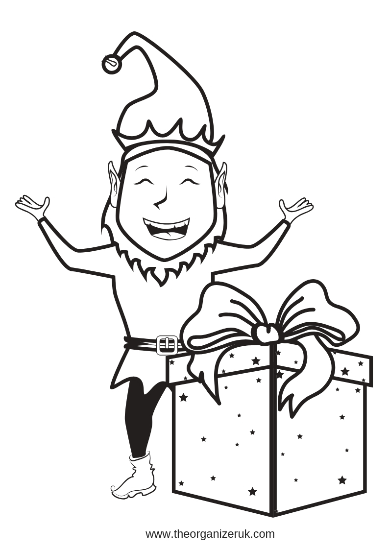 elf with present colouring pages