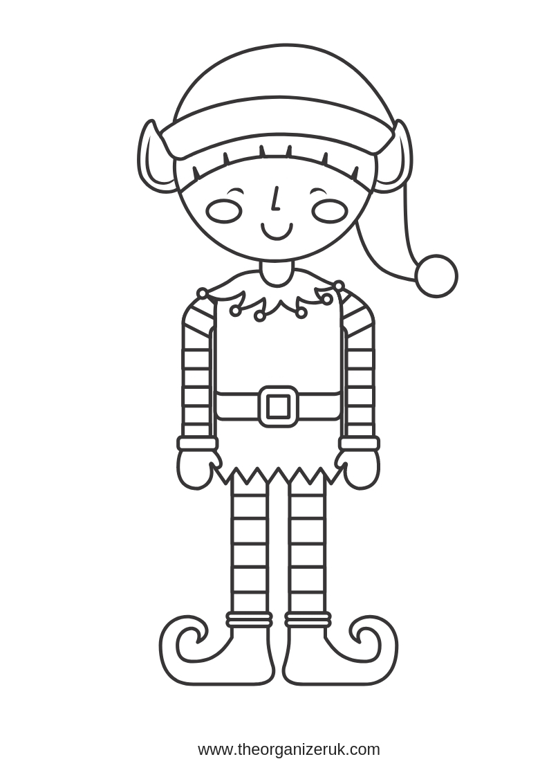 quirky elf colouring page