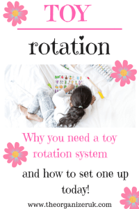 Toy rotation, how to rotate toys. Girl playing on a bed with a puzzle.