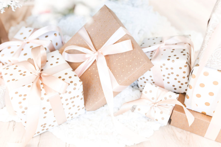 christmas budget, a small pile of Christmas presents