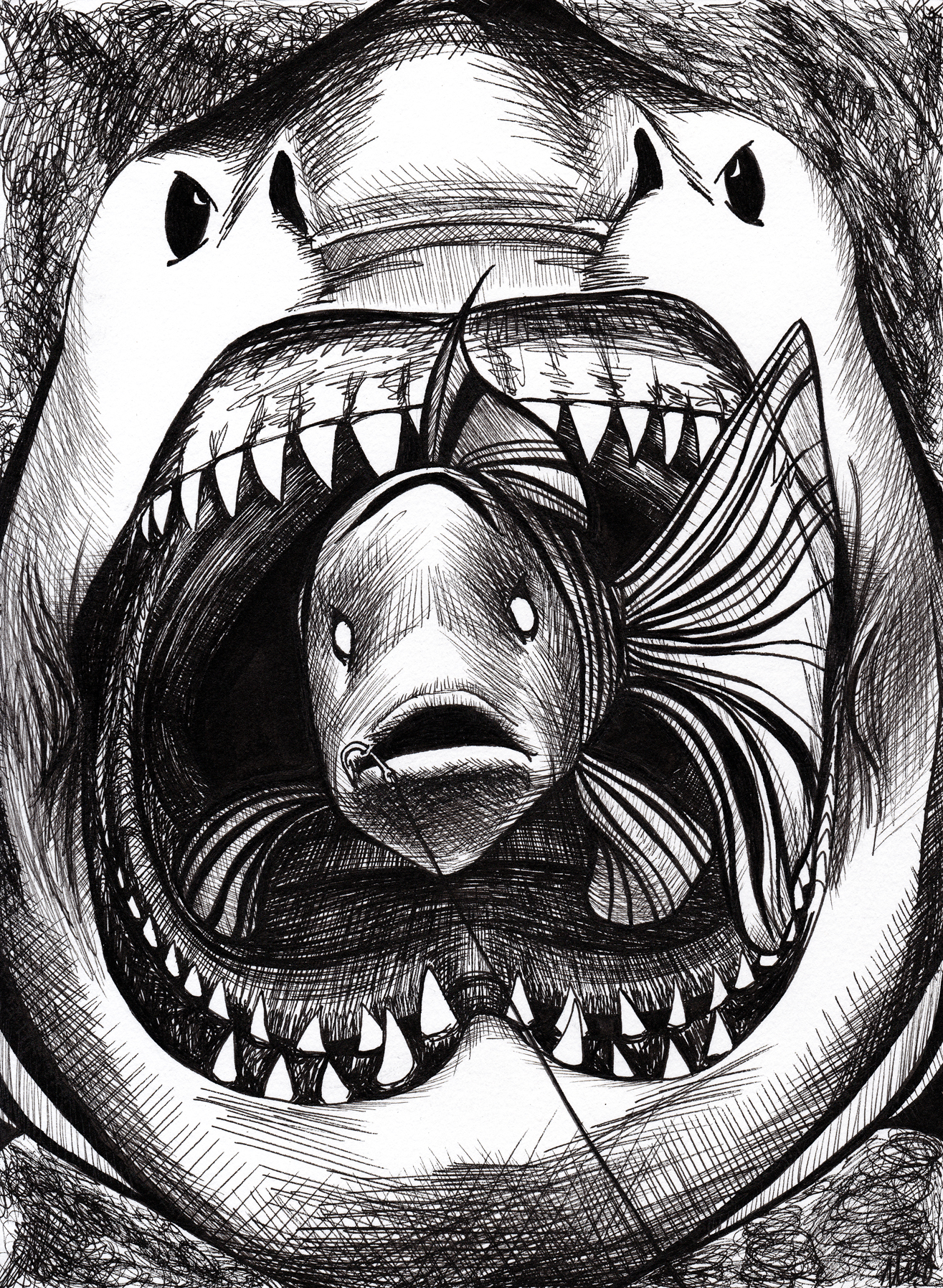 A scared fish trembles on the end of a fishing hook. Behind, the maw of a shark engulfs the view.
