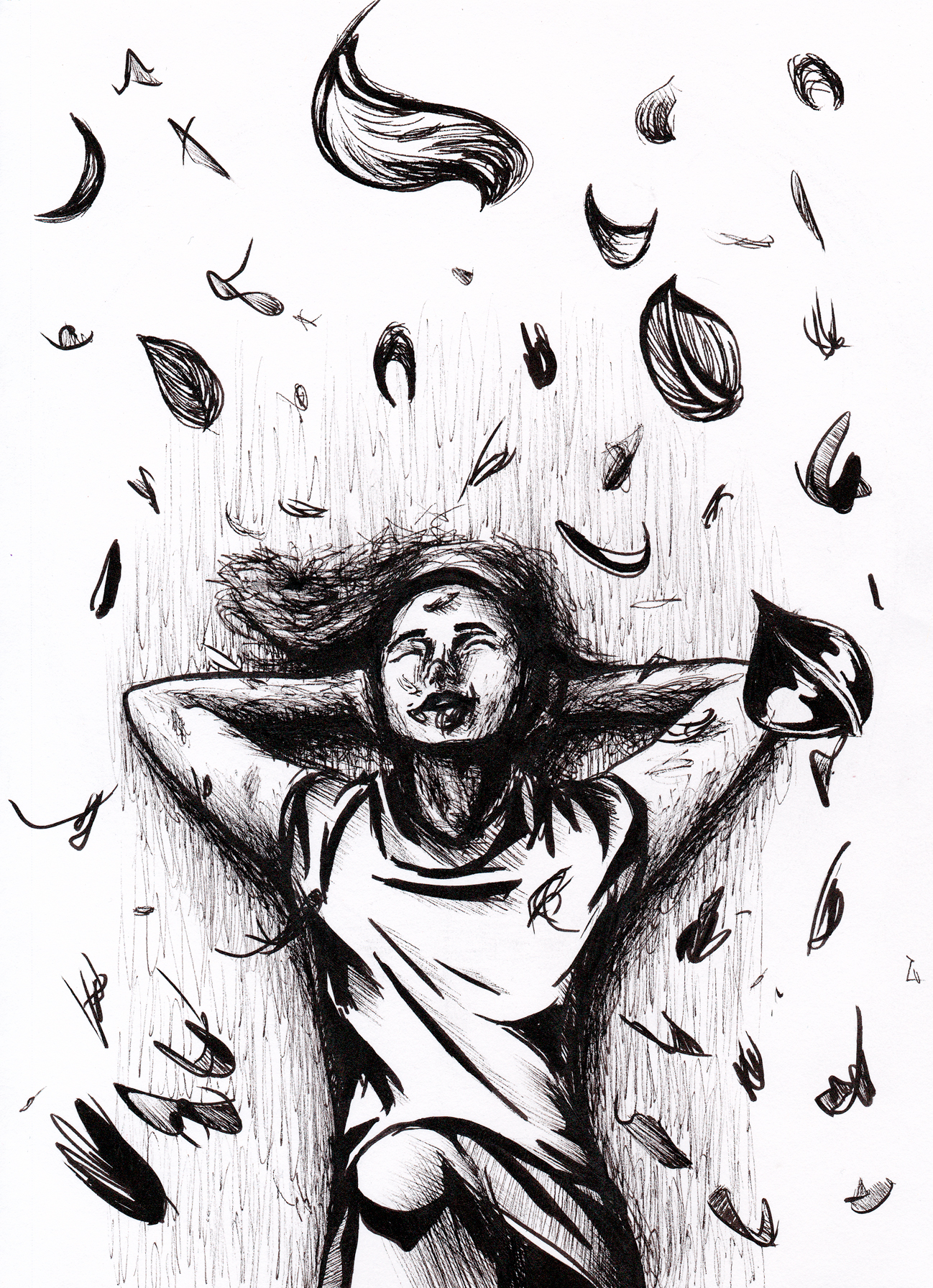 A figure lounges under spiralling leaves. Inked black on white.