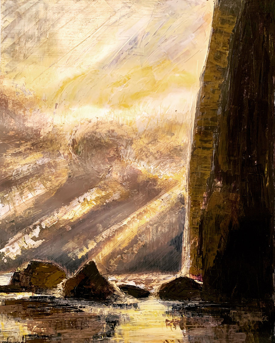 A palette knife painting of Haystack Rock along the Oregon coastline. Dark muted colors are set off by the glowing bright light of the sunset breaking through the stormy clouds.