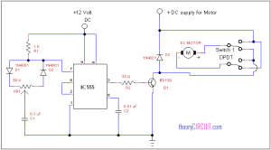 Forward Reverse DC motor control diagram with timer IC