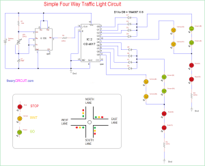 Simple Four Way Traffic Light Circuit
