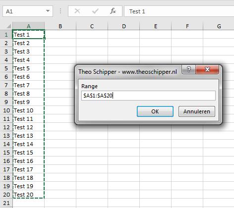 Excel Range selecteren