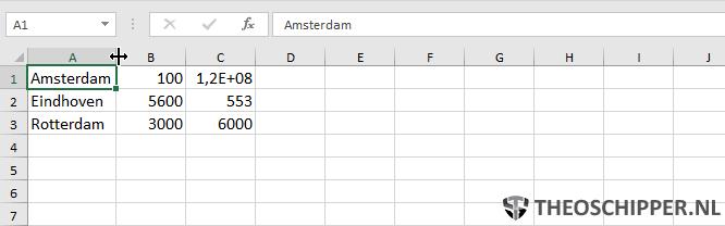 Autoaanpassen kolombreedte Excel