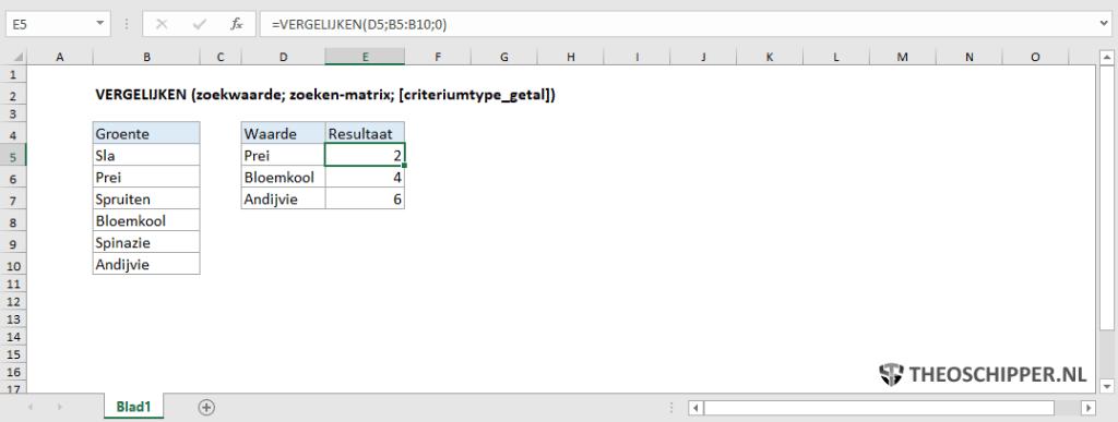 Excel VERGELIJKEN functie