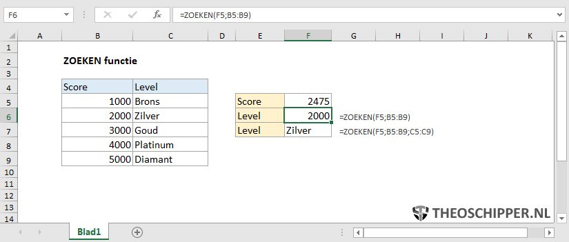 Excel Zoeken functie