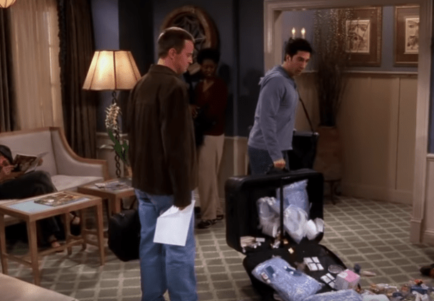Remember this scene from FRIENDS - Ross at the hotel  - responsible travel responsible tourism