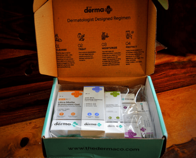 Depending on the prescription one can buy  customized skincare regimen for acne from The Derma co.