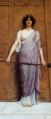 At the Gate of the Temple - John William Godward 1898 - possible Maeven