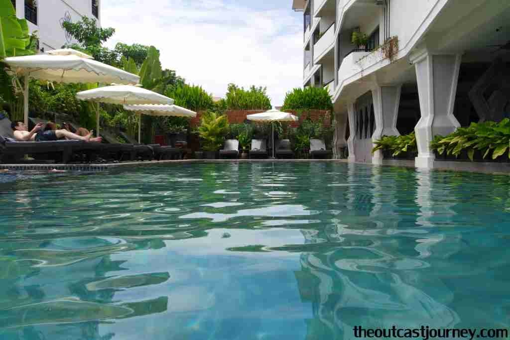blue swimming pool in siem reap cambodia