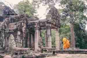 two monks in the temple in siem reap