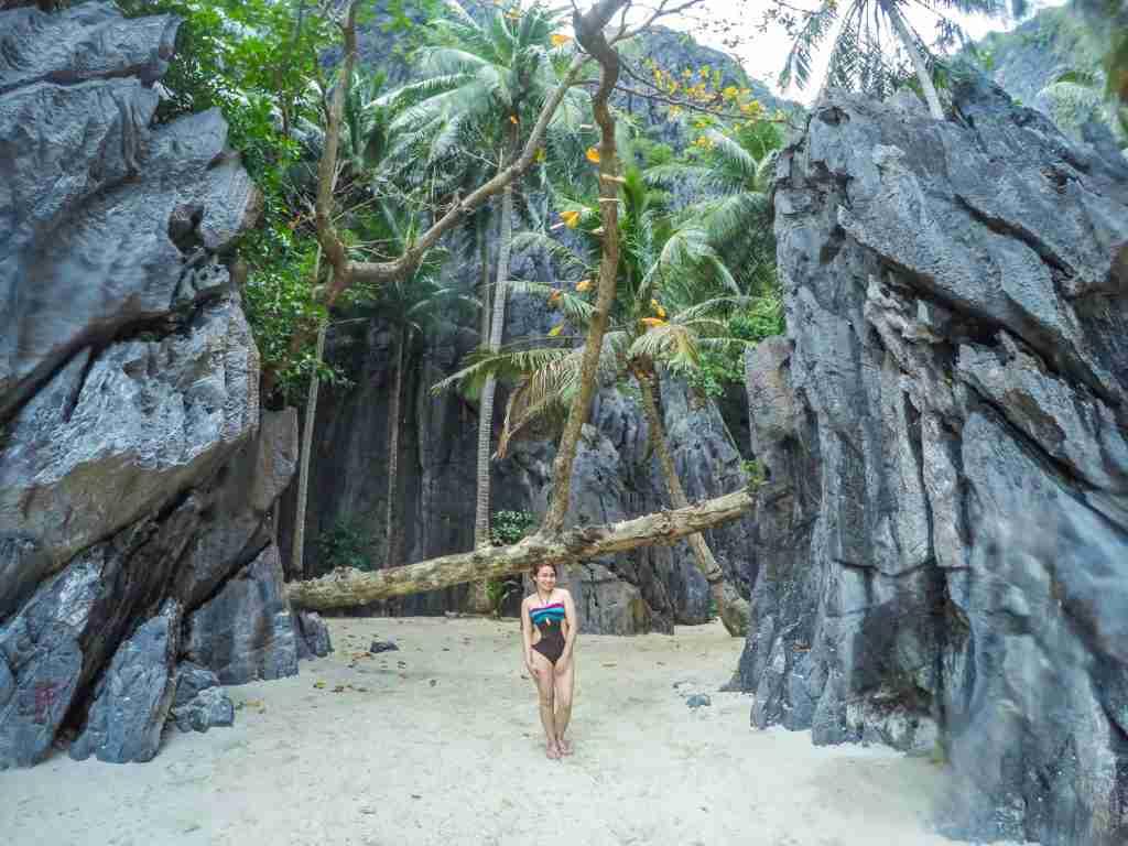 girl in bikini in secret lagoon el nido