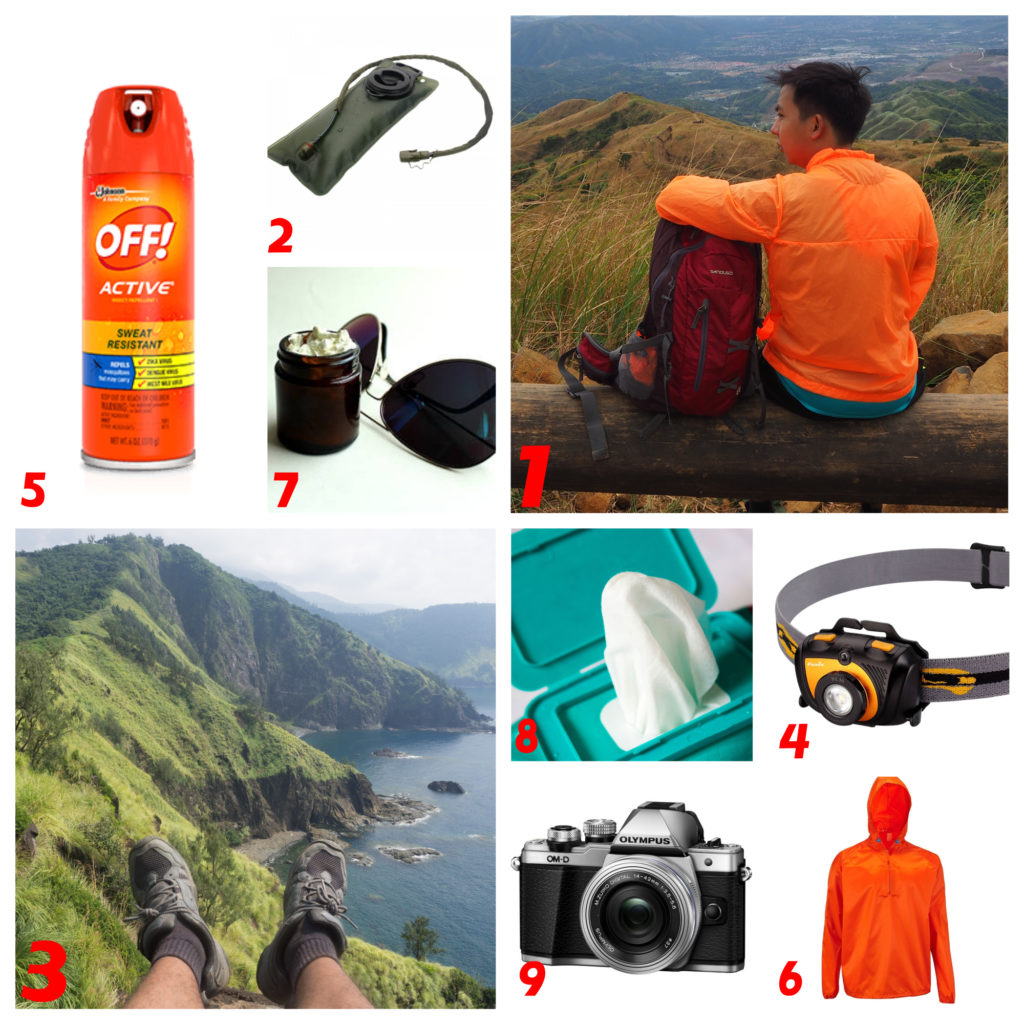 day pack essentials for a short travel insect repellent, bladder, sunblock and eyeglasses, sandugo bag for mountaineering, olympus omd em10 camera, raincoat, wet wipes and headlamp