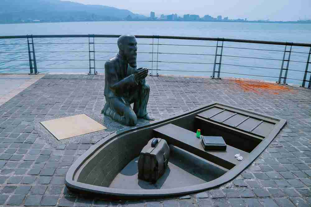 Canadian missionary George Leslie Mackay statue in Tamsui
