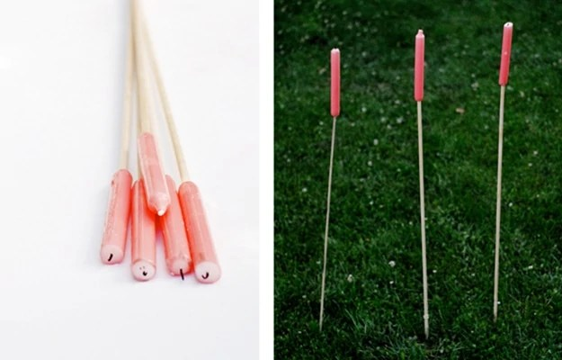 Create outdoor candle sticks for easy, portable lighting