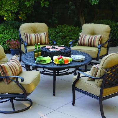 Darlee Nassau 5 Piece Patio Fire Pit Conversation Seating Set