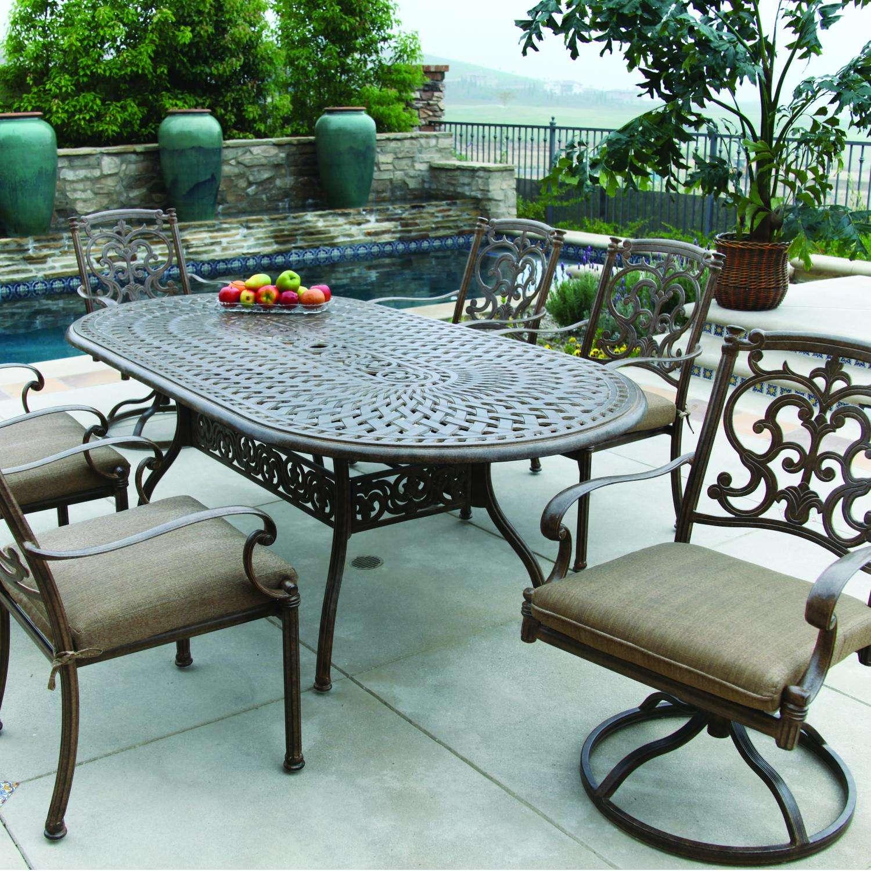 darlee santa barbara 7 piece cast aluminum patio dining set with oval table antique bronze
