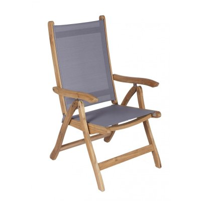 Royal Teak Collection Gray Florida Sling Adjustable Arm Dining Chair – FLGR