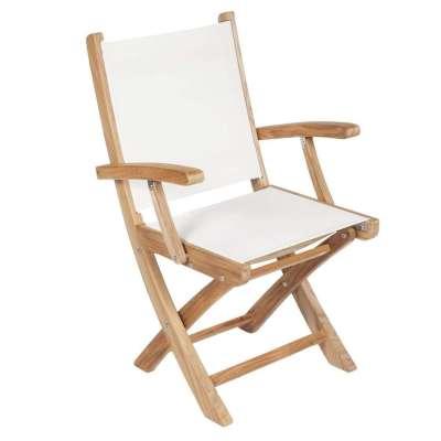 Royal Teak Collection White Sailmate Folding Arm Chair