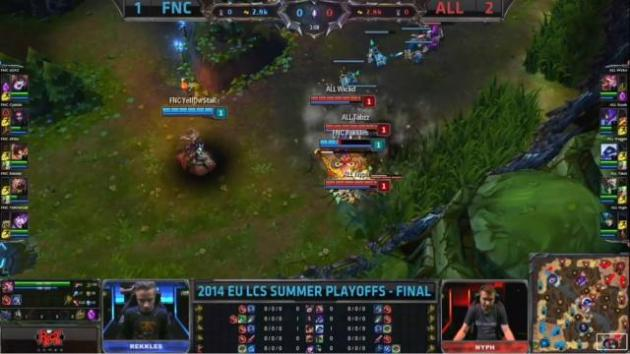 Rekkles being a little reckless and face-checking the lane bush. R.I.P.