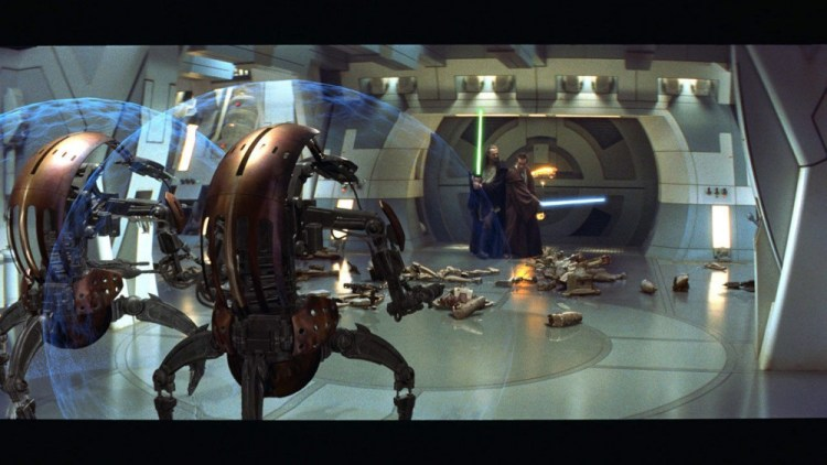 The tech in The Phantom Menace looked much more advanced.